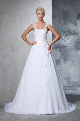 Empire Waist Appliques Chiffon Wide Straps Lace-up Wedding Dress