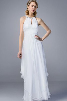 Sleeveless Floor Length Simple Chiffon Elegant & Luxurious Wedding Dress