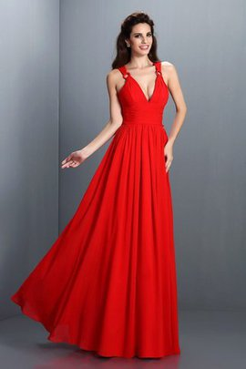 Pleated A-Line Zipper Up Chiffon Bridesmaid Dress