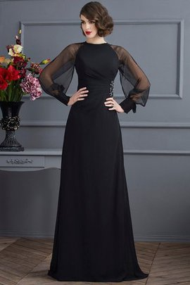 Long Sweep Train Chiffon Zipper Up Sheath Evening Dress