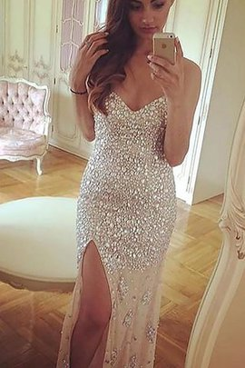 Sheath Sweetheart Natural Waist Sweep Train Beading Evening Dress