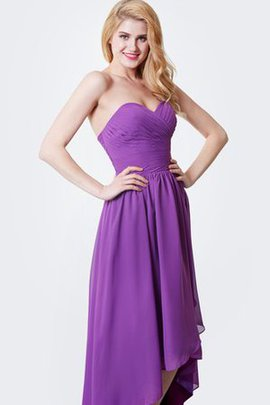 Strapless High Low Criss-Cross Pleated Bridesmaid Dress