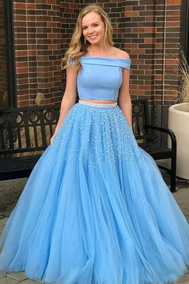 Princess Tulle Beading Sleeveless Eye-catching Two Piece Sweep Train Evening Dress
