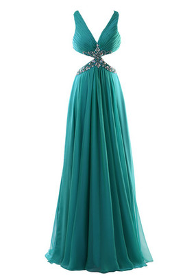 Chiffon Romantic Natural Waist Long Beading Evening Dress