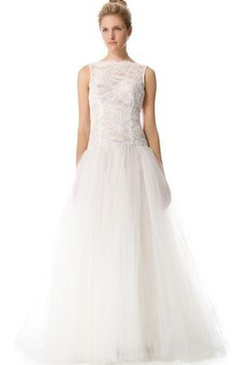 Organza Zipper Up Long Bateau Sleeveless Wedding Dress