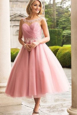 Chiffon Appliques Tea Length Sleeveless Wedding Dress