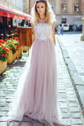 Appliques Tulle Sweep Train Capped Sleeves A-Line Evening Dress