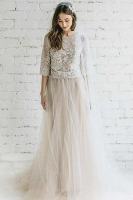 Button Lace Fabric Scoop A-Line Half Sleeves Wedding Dress