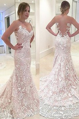 Mermaid Lace Sweetheart Sweep Train Natural Waist Wedding Dress