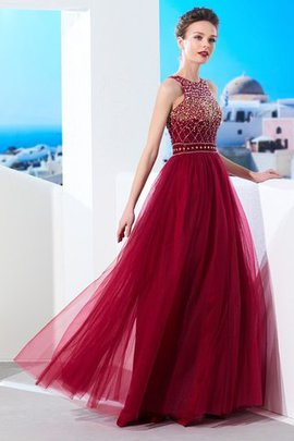 Beading Natural Waist Scoop Zipper Up A-Line Prom Dress
