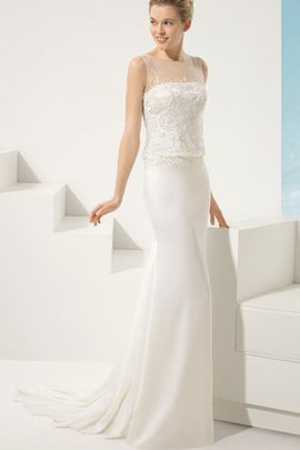 Chiffon Sleeveless Lace Sheer Back Bateau Wedding Dress