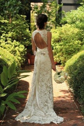Natural Waist Sweep Train Lace Sleeveless V-Neck Wedding Dress