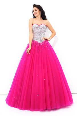 Lace-up Sleeveless Beading Satin Long Quinceanera Dress
