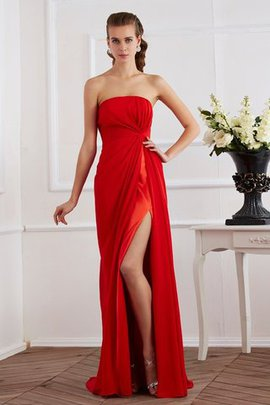 Draped Floor Length Chiffon Natural Waist Sheath Evening Dress