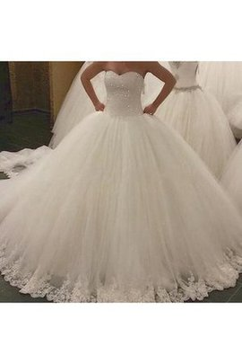 Sweetheart Hall Beading Rectangle Floor Length Wedding Dress