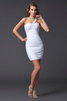 Natural Waist Sleeveless Appliques Beading One Shoulder Homecoming Dress