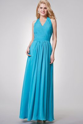 Pleated Floor Length Halter Chiffon A-Line Bridesmaid Dress