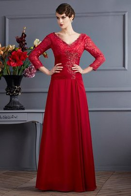 Sheath 3/4 Length Sleeves Floor Length Lace Natural Waist Evening Dress