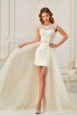 Lace Floor Length Keyhole Back Natural Waist Short Sleeves Wedding Dress