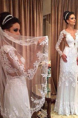 Sheath V-Neck Tulle Long Sleeves Natural Waist Wedding Dress