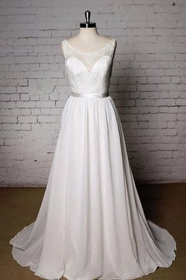 Natural Waist A-Line Court Train Scoop Pleated Wedding Dress