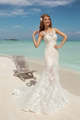 Sexy Lace-up Chapel Train Mermaid Appliques Wedding Dress
