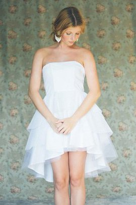 Simple Sleeveless Tulle A-Line Strapless Wedding Dress