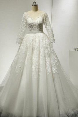 Sleeveless Bateau Tulle Floor Length A-Line Wedding Dress