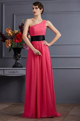 Draped Sweep Train Chiffon Princess Evening Dress