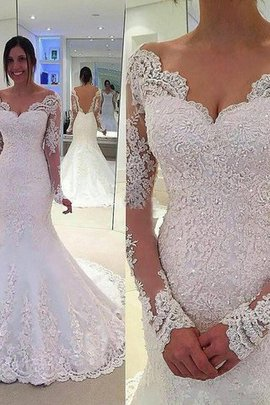 Long Sleeves Natural Waist V-Neck Mermaid Tulle Wedding Dress