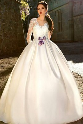 Modest Zipper Up Sashes Ball Gown Court Train Wedding Dress