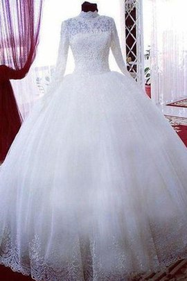 High Neck Ball Gown Chapel Train Hall Vintage Sweet Demure Wedding Dress