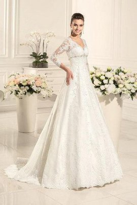 V-Neck Lace Fabric Elegant & Luxurious Romantic A-Line Wedding Dress