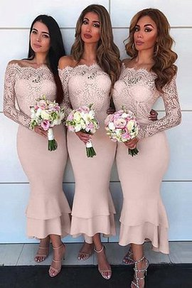 Off The Shoulder Ankle Length Long Sleeves Dazzling Lace Chiffon Sheath Bridesmaid Dress