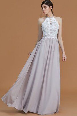 Sleeveless Halter A-Line Natural Waist Bridesmaid Dress