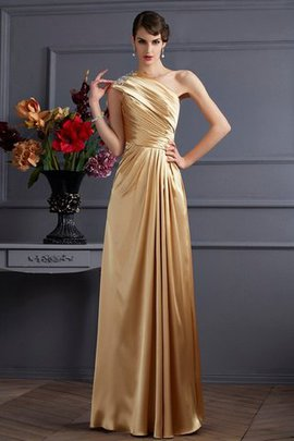One Shoulder Natural Waist Elastic Woven Satin Beading Floor Length Evening Dress
