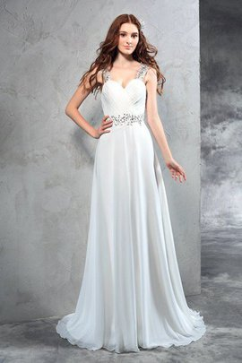 Sweetheart Sweep Train Chiffon Natural Waist Zipper Up Wedding Dress