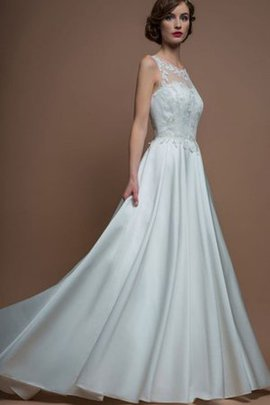 A-Line Scoop Satin Floor Length Appliques Wedding Dress