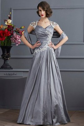 Beading A-Line Natural Waist Short Sleeves Evening Dress