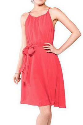 Short Chiffon Sashes Spaghetti Straps Bridesmaid Dress