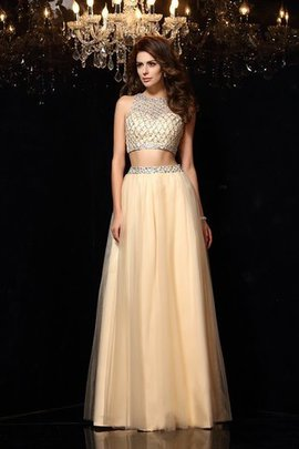 Long Floor Length High Neck 2 Piece Sleeveless Prom Dress