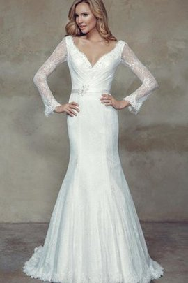 Lace Mermaid Natural Waist Floor Length Long Wedding Dress