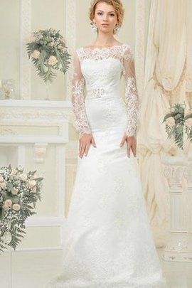 Sheath Elegant & Luxurious Scoop Floor Length Lace-up Wedding Dress