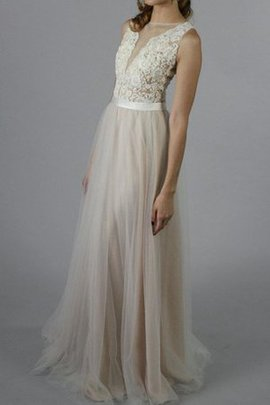 Button Scoop Sleeveless Tulle Lace Bridesmaid Dress