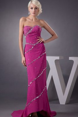 Beading Sweep Train High Low Sweetheart Chiffon Evening Dress