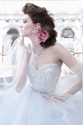 Tulle Flowers Lace Natural Waist Ball Gown Wedding Dress