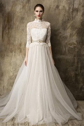 Informal & Casual Elegant & Luxurious Court Train High Neck Modest Wedding Dress
