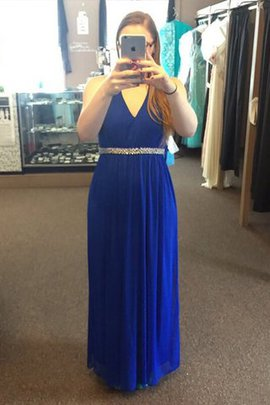 V-Neck Beading Sleeveless Chiffon Plus Size Prom Dress