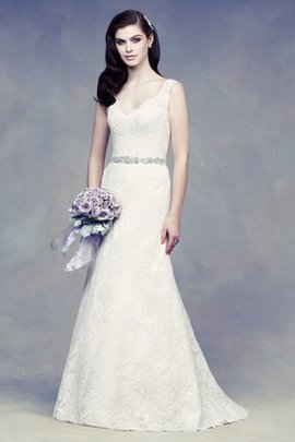 Misses V-Neck Elegant & Luxurious Sleeveless Modest Wedding Dress