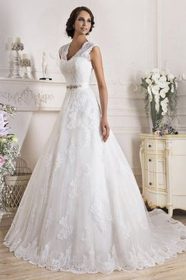 Natural Waist Floor Length Lace Sweep Train Wedding Dress